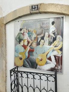 A street painting with fado musicians